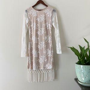 REVOLVE Majorelle Filaree Fringe Dress in Ivory